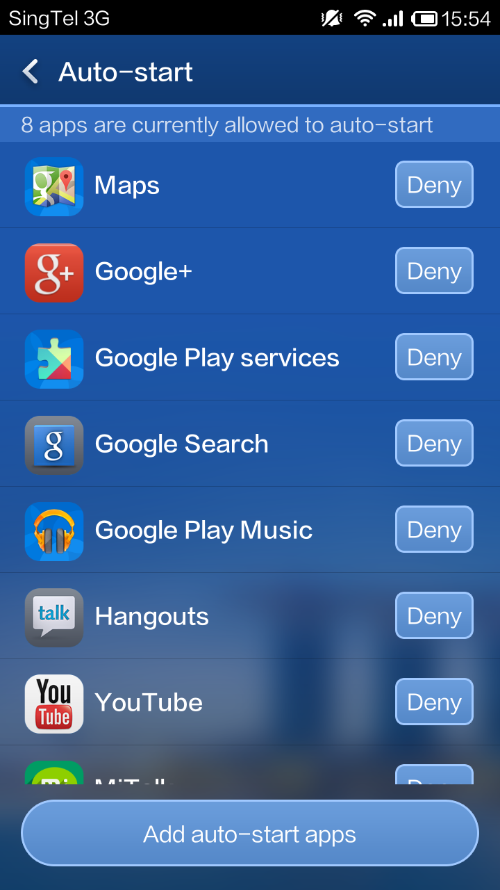 These are the apps that will automatically start after rebooting. You can add or remove apps to the white list.