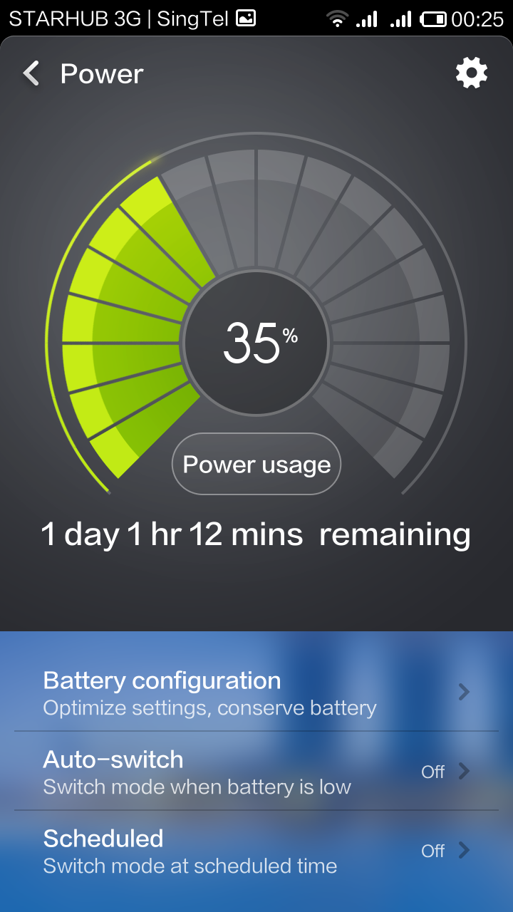 The home screen of Power shows you the battery percentage, the power usage, and the three methods by which you can maximize battery mileage.