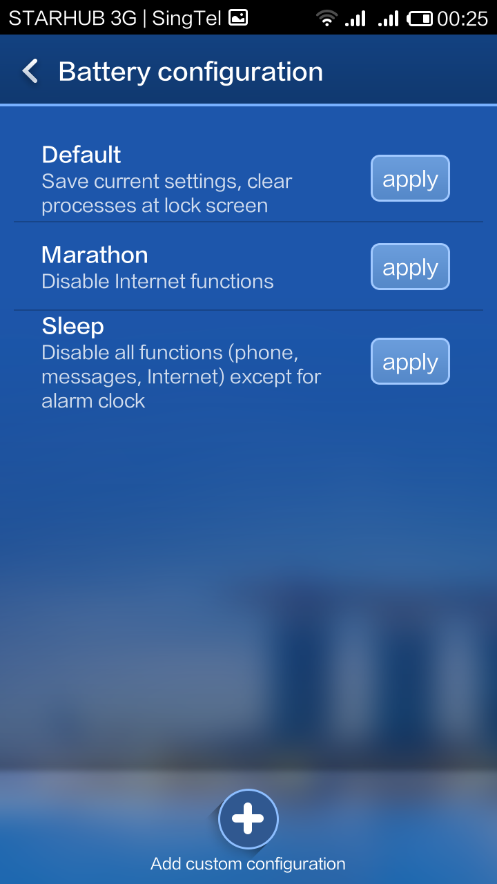 There are three modes to select from: default, marathon and sleep.