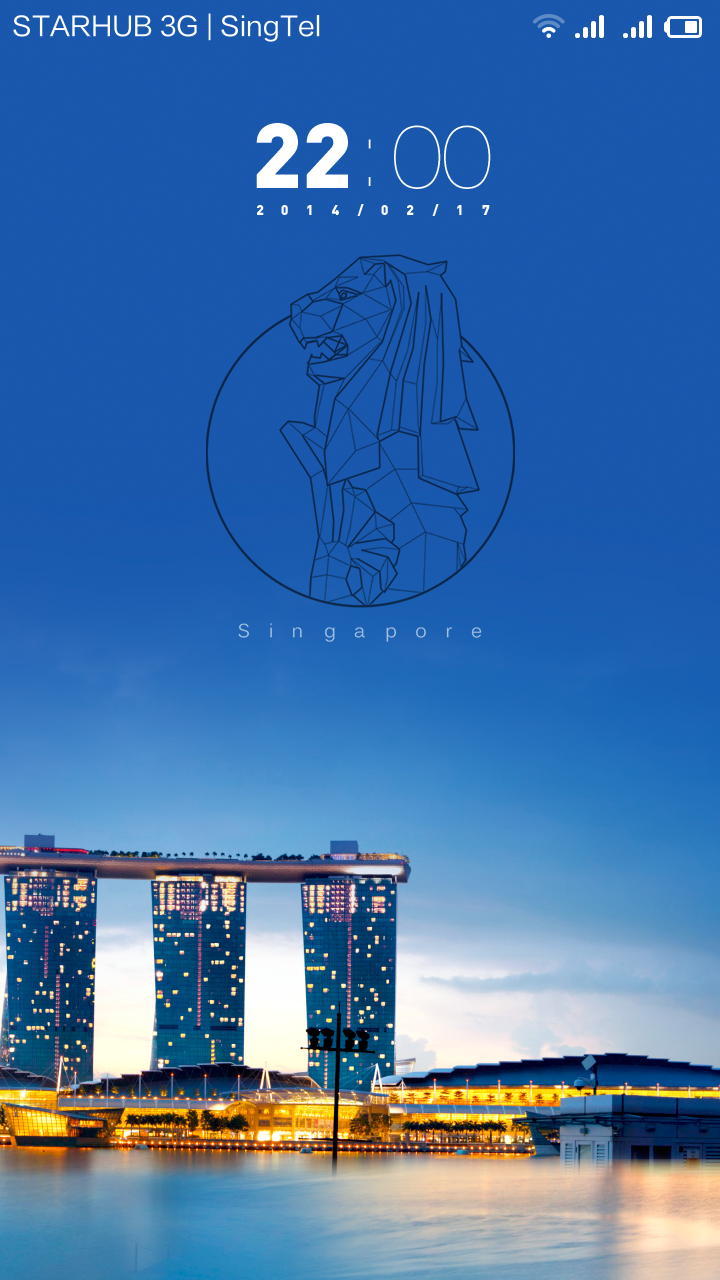 This is the new special edition Singapore theme built by the Xiaomi team for the launch on 21 Feb. In the background is the Marina Bay Sands Hotel. The wallpaper slowly scrolls from left to right.