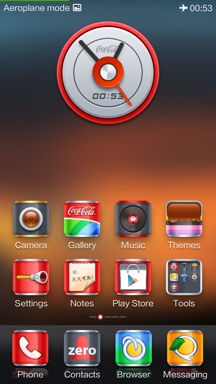The home screen on the Xiaomi Redmi with the Coca Cola theme.