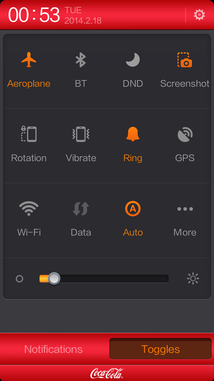 Notice how the design of the quick settings panel takes on the Coca Cola theme.