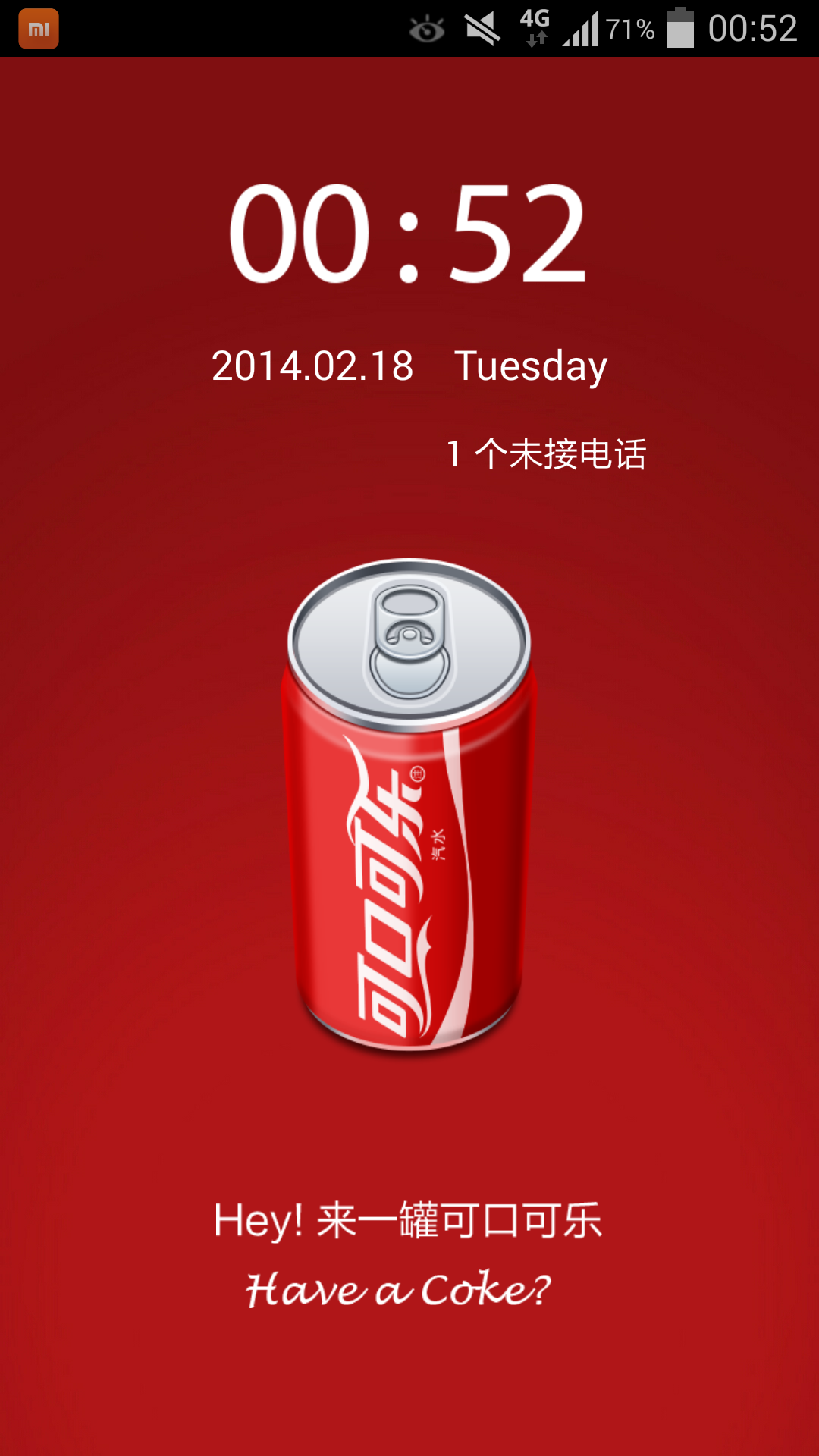 Samsung Galaxy Note 3 running on the MIUI Home launcher with Coca Cola theme.