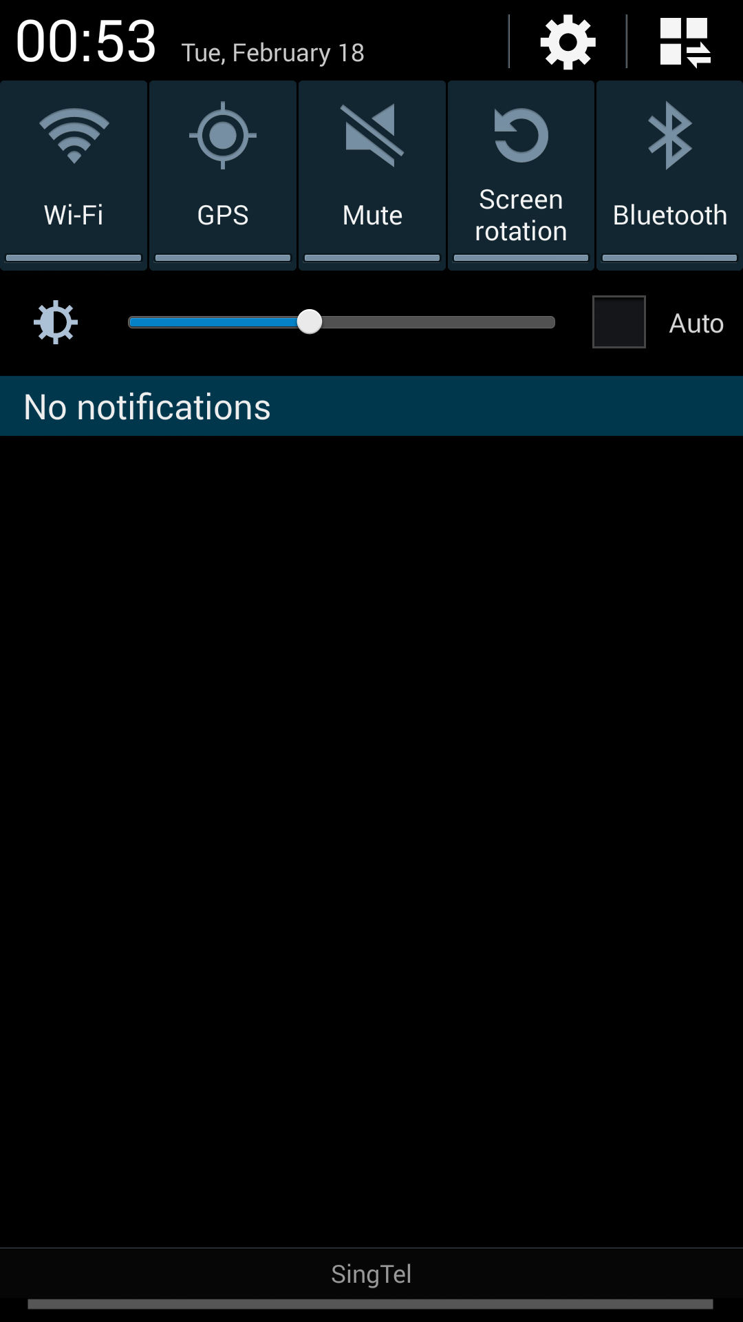 The pull-down notification panel on the Samsung Galaxy Note 3 reveals its true colors.