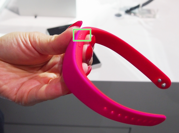 The wrist band has three LEDs which will light up depending on the number of taps and how long u press the power button.