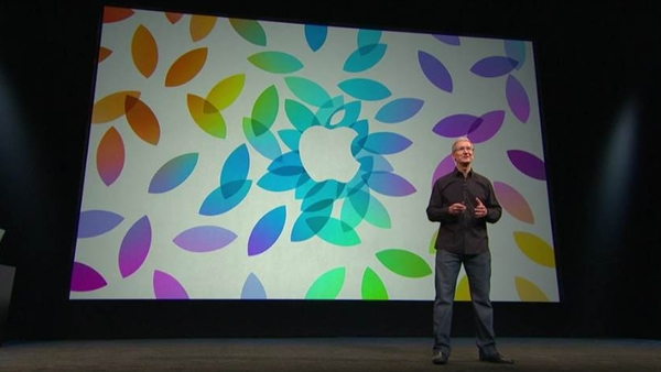 Apple CEO Tim Cook at the launch event for the iPad Air and iPad Mini with Retina Display on October 2013.