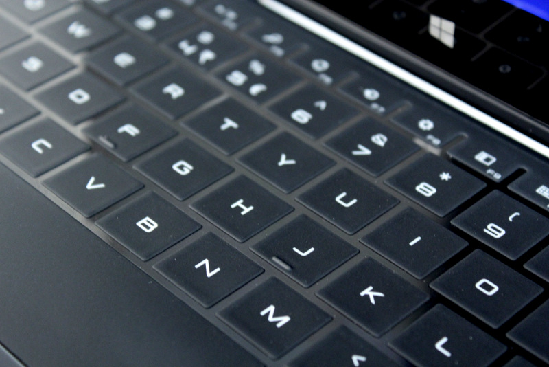 The touch keyboard on the XPS 11 is made of silicon, and is disabled once the display goes past 180 degrees. Its rubbery texture also provides friction that prevents it from slipping from your hands.