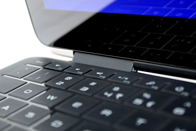The touch keyboard goes all the way to the edges, allowing it to minimize the wastage of space.