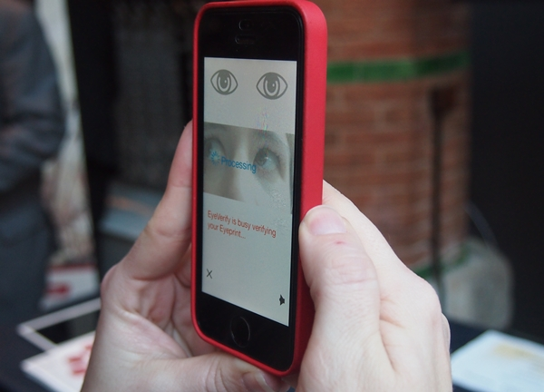It takes about two seconds for EyeVerify's EyePrint technology to verify and unlock the mobile device.