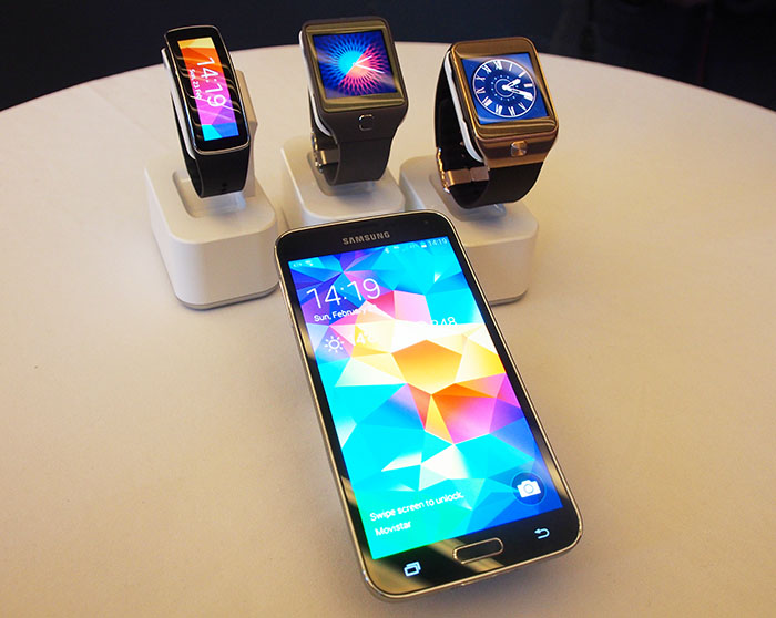 Samsung's latest devices, the Gear Fit, Gear 2 Neo, Gear 2 and Galaxy S5. Each device has its own heart rate monitor and is IP67 rated against dust and water!