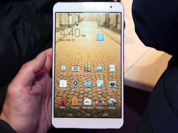The new Huawei MediaPad X1 with its ultra-thin bezel and 7-inch 1920x1200 screen.