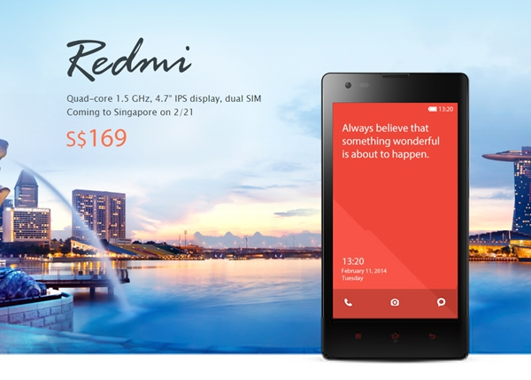 The Redmi will be available for purchase on February 21 at 12 noon. <br>Image source: Xiaomi Singapore