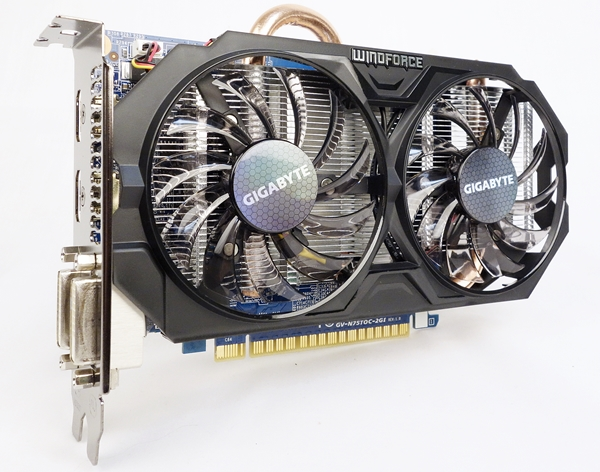The Gigabyte GeForce GTX 750 Ti Windforce OC features the Windforce cooling system.