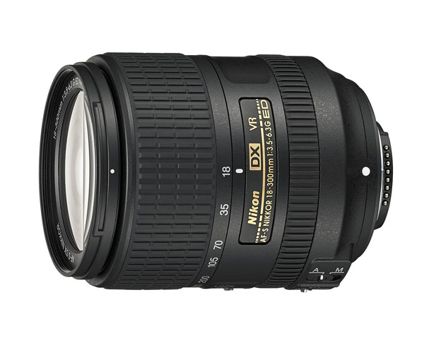 The Nikon AF-S DX Nikkor 18-300mm f3.5-6.3 VR lens.