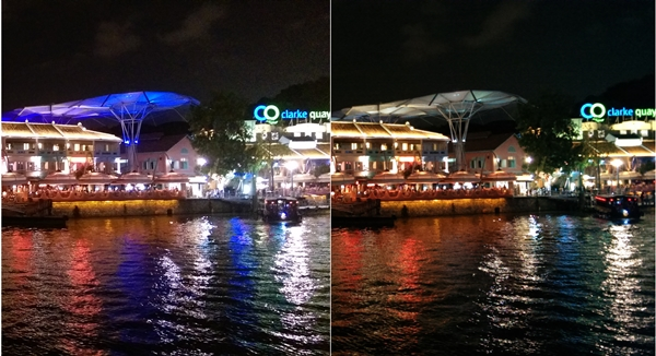 Left: HTC One (M8). Right: HTC One (2013). <br>. Another night shot comparison. You can see that the photo taken by the One (M8) is slightly overexposed.