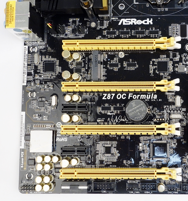 There are a total of four length PCIe expansion slots that allows the board to support up to four graphics cards.
