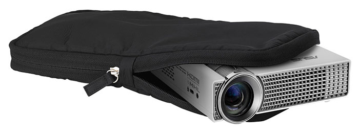 The included soft case provides a nice fit for the projector and its various accessories.