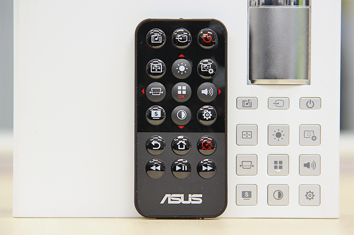 The button layout on the tiny remote control closely mimics the layout found on the P2B's top panel.