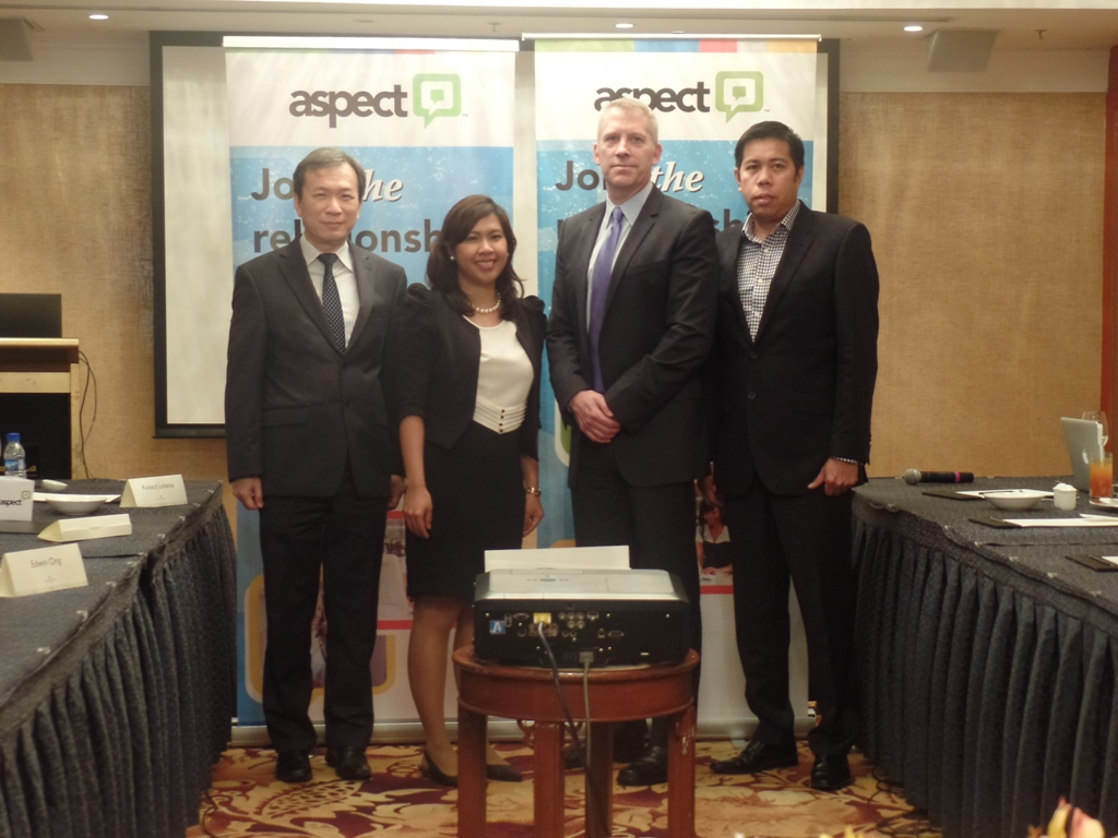Richard Loberas, Regional Sales Director, Dennise Ilicito Asean Marketing Manager, Jim Freeze Senior Vice President and CMO, and Edwin Ong Director for Marketing & Channels AP, graced the launch of Aspect Workforce Optimization 8.0 solution in the Philippines.