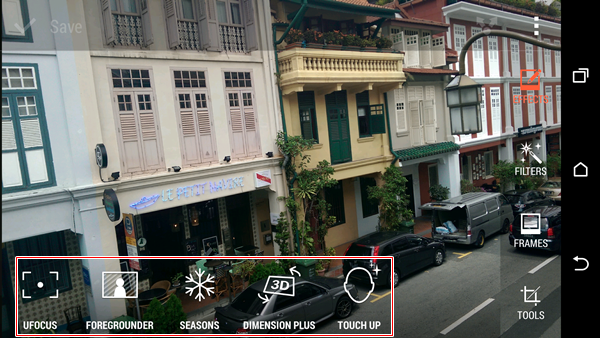 The range of imaging effects you can apply via the camera app on the HTC One (M8).