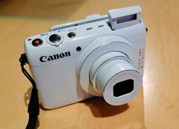 The Canon N100 with pop-up flash extended.