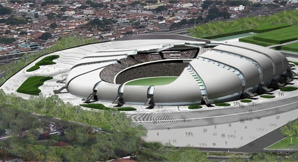 The Estadio das Dunas Stadium, in the city of Natal. This scenic football stadium will host matches during the tournament.