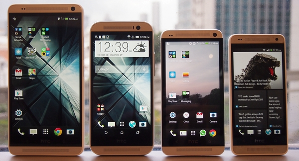 From left to right: 5.9-inch HTC One Max, 5-inch HTC One (M8), 4,7-inch HTC One and the 4.3-inch HTC One Mini.