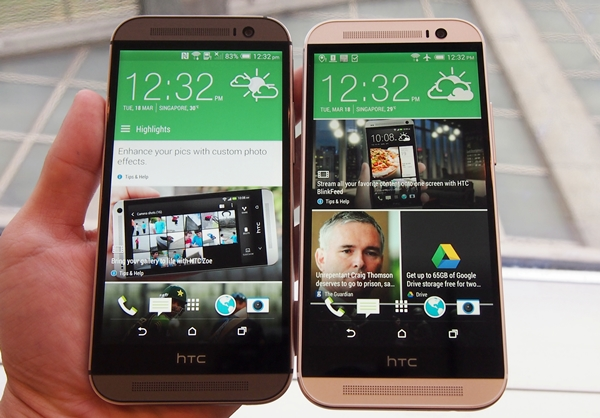 Side by side comparison of the Gunmetal Grey and Glacier Silver HTC One (M8).