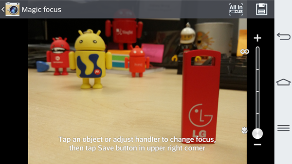 Enable Magic Focus via Camera > Mode > Magic Focus. You can adjust the focus by tapping on specific objects or adjusting the slider on the right.