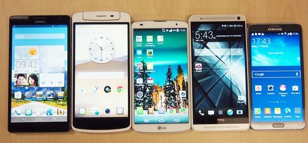 From left to right: Huawei Ascend Mate, Oppo N1, LG G Pro 2, HTC One Max, Samsung Galaxy Note 3.