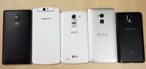 Here's a look at the backs of the five phablets.