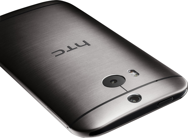The gunmetal grey HTC One (M8) has a brushed finish on its rear. <br>Image source: HTC
