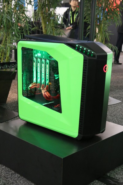 This is a gaming rig fitted with four GeForce GTX TITAN Black graphics cards.