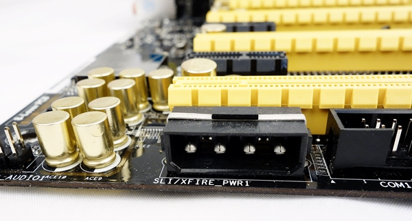 The SLI/XFire power connector that will deliver more power in a multi-GPU configuration.