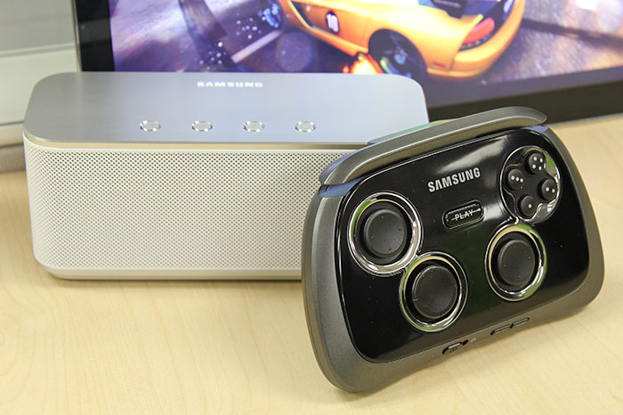 The Samsung GamePad and Bluetooth Speaker SB330 will bring gaming experience to another level. But they aren't exclusively for the Note Pro; recent Galaxy smartphones and tablets work with them too.