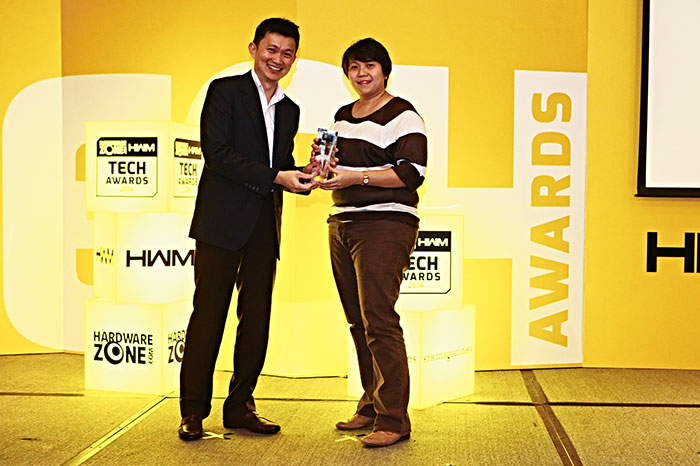 Symantec won the Readers' Choice award for Best Security Software Brand. Here's Ms. Erlena Tan, Country Sales Manager, Norton, accepting the award.