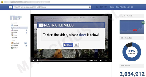 Users were prompted to share the video before they could watch the embedded video.