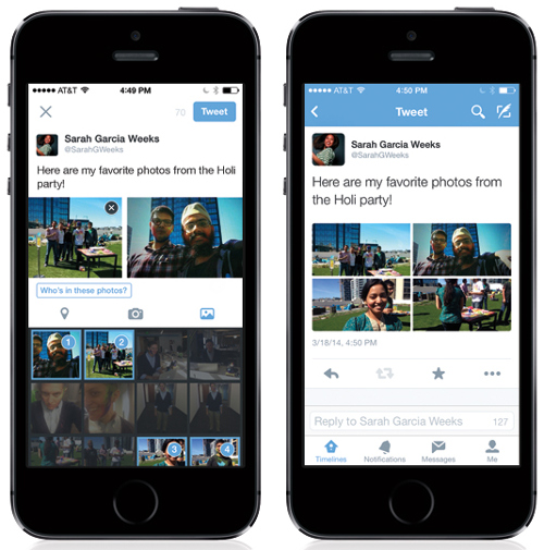 Select up to four photos from the Tweet composer; Tap on a photo to see it in full, then swipe to see the rest. (Image source: Twitter)