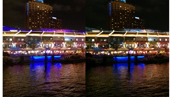 Left: HTC One (M8). <br> Right: HTC One (2013). <br> If you zoom in onto the windows in the building and shophouses, the image quality seems to be similar to one another. However, we feel that the One (M8) takes slightly overexposed photos.