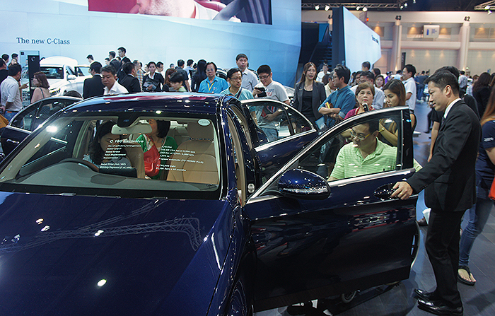 Mercedes-Benz's booth was one of the most crowded with many attendees checking out the new C-Class.