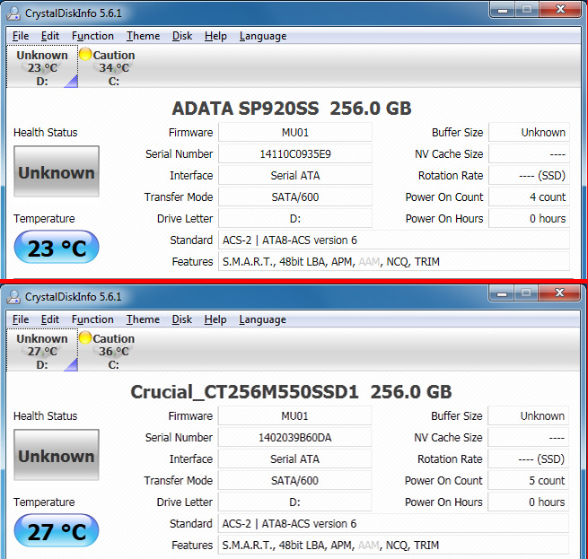 Notice that both drives have the same firmware?