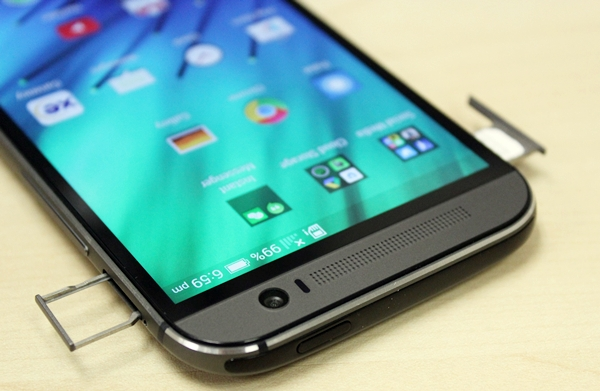 The nano-SIM card slot is located on the corner left profile while the microSD memory card slot is on the top of the HTC One (M8)'s right profile. If you notice carefully, you can just about make out the power button on the crown of the device.