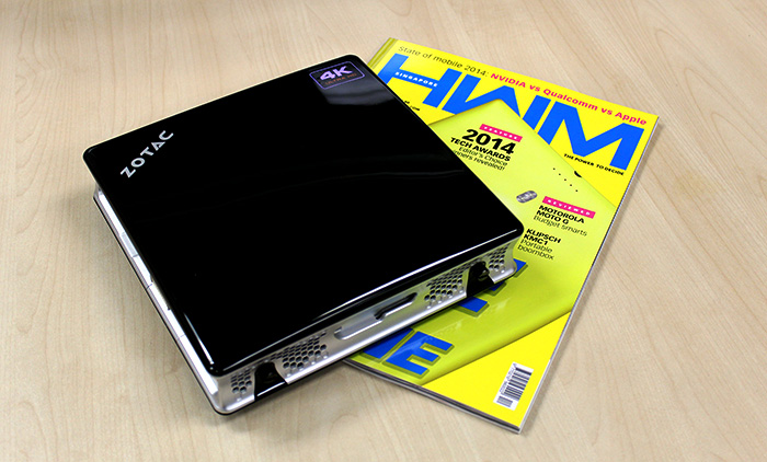 On the desk, the Zotac IQ01 Mini-PC takes up about as much space as our magazine.