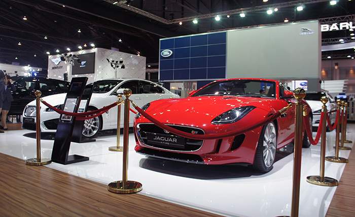 The big cats come out to play. Headlining Jaguar's booth was the new XFR sports saloon and F-Type sports convertible.