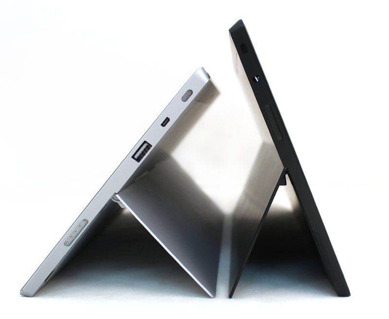 The Surface 2's second kickstand position is lower and more usable than the sole kickstand position on the Surface RT.