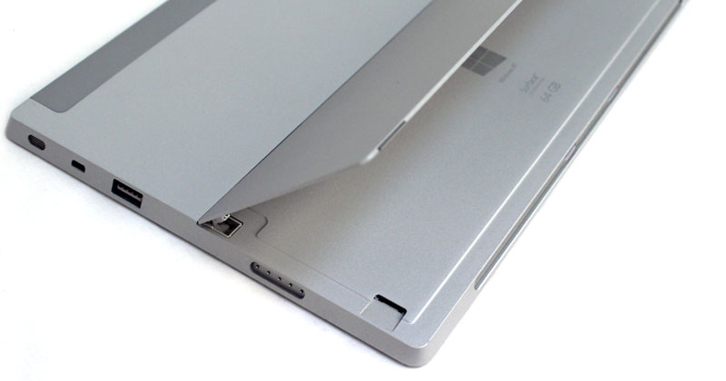 The microSD port is hidden under the kickstand. It's a bit easier to spot on the gray finish than it was on the black.