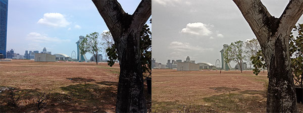 Without HDR on the left. On the right, after activating HDR, the saturation appears incorrect, rendering the scene as though it is blocked by haze.