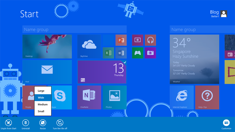 There are now more options for customizing your Start screen, including different tile sizes.