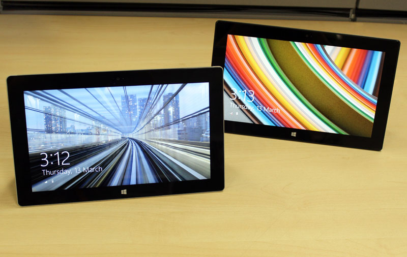 Microsoft Surface 2 (on the left) next to last year's Surface RT tablet. No drastic redesigns here!