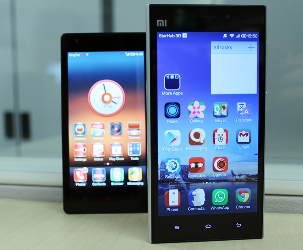 The Mi 3 (front) is the flagship smartphone for Xiaomi while the Redmi (behind) is the midrange smartphone.